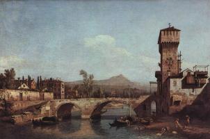Джованни Антонио Каналь (Каналетто). Венецианское каприччио: река, мост и средневековые городские ворота