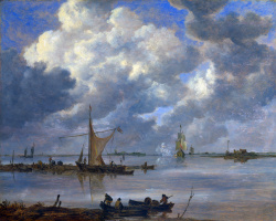 Jan van Goyen. Estuary with fishing boats and two frigates