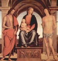 Пьетро Перуджино. Мадонна на троне со св. Иоанном Крестителем и св. Себастьяном