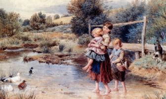 Майлз Беркет Фостер. Дети в ручье.