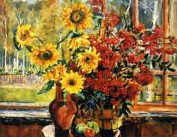 Alexander Alexandrovich Osmercin. Sunflowers and mountain ash. 1952