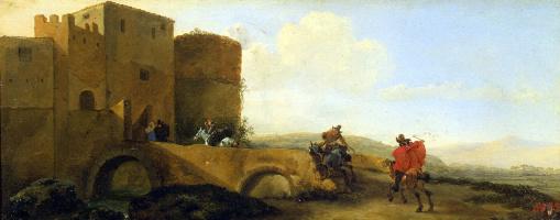 Всадники, скачущие к воротам крепости