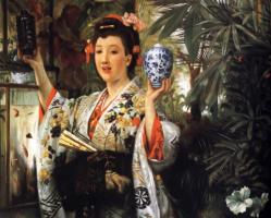 Джеймс Тиссо. Молодая леди в платье с японскими орнаментами