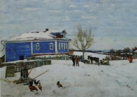 "Konstantin Fedorovich Yuon. ""Blue house. Petrovskoe ""1916 67.5 x94"