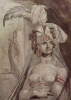 Иоганн Генрих Фюссли. Полуфигура куртизанки с перьями, бантом и покрывалом на волосах