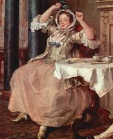 """Уильям Хогарт. Цикл картин """"Модный брак"""". После свадьбы. Фрагмент"""