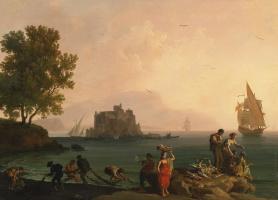 Пьер-Жак Волер Франция. Coastal landscape near Naples.1780