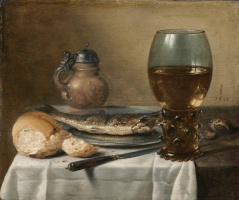 Peter Class. Still Life with Stoneware Jug, Wine Glass, Herring, and Bread