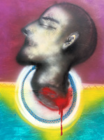 Nikolai margin. Self portrait with a head in a plate