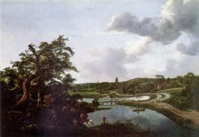 Jakob van Isaacs Ruisdael. River bank