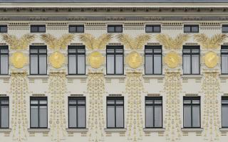 Koloman Moser. Golden medallions, facade, apartment building at Linke Wienzeile 38