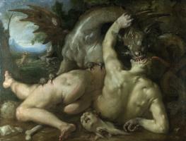 Корнелис ван Харлем. Два последователи Кадм съедение драконом