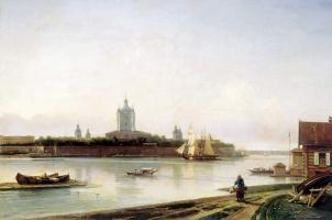 Alexey Petrovich Bogolyubov. View of the Smolny monastery from the Big Ohta