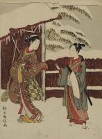 Судзуки Харунобу. Молодая пара у ворот в снегу