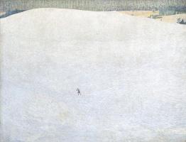 Куно Амье. Зимний пейзаж с лыжником