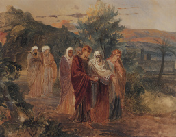 The return from the burial of Christ. The sketch of the unfinished painting
