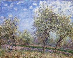 Alfred Sisley. The Apple trees in bloom