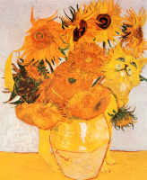 Unknown artist. Vase of sunflowers and a cat