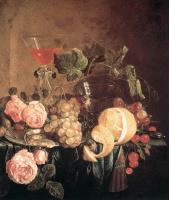Ян Давидс де Хем. Натюрморт с цветами и фруктами