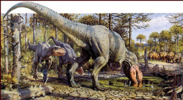 Джеймс Герни. Динозавр пьет воду