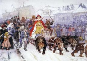 Василий Иванович Суриков. Большой маскарад в 1722 году на улицах Москвы с участием Петра І и князя И.Ф. Ромодановского