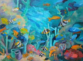 Basil Pie. Underwater world