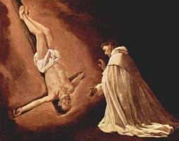 """Франсиско де Сурбаран. Цикл картин """"Сцены из жизни св. Педро Ноласко"""". Видение святым Педро Ноласко святого Петра"""