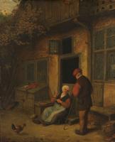 Адриан Янс ван Остаде. Женщина перед домом чистит рыбу