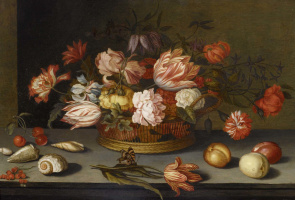 Балтазар ван дер Аст. Натюрморт с цветами в корзине и бабочкой на тюльпане