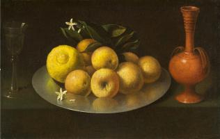 Франсиско де Сурбаран. Натюрморт с винным бокалом, фруктами и кувшином