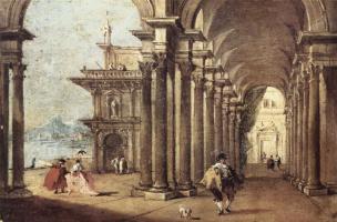 Francesco Guardi. A covered gallery along the river walk