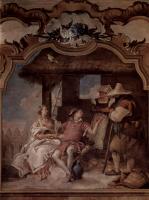 Джованни Баттиста Тьеполо. Анжелика и Медор в сопровождении двух крестьян. Фрески из виллы Валлмарана, Виченца