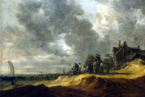 Jan van Goyen. Beach in Scheveningen