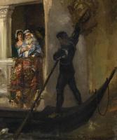Вильгельм Александрович Котарбинский. Посадка в гондолу венецианской знати. Фрагмент 3. Гондольер