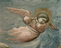Giotto di Bondone. The lamentation, detail: Grieving angel