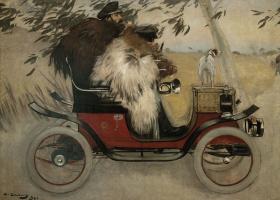 Рамон Касас Карбо. Ramon Casas and Father Romeu in the car