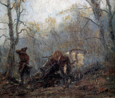 Autumn in the forest. The disappointment of man