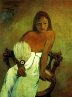 Поль Гоген. Юная девушка с веером