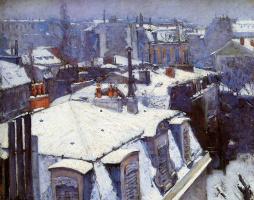Гюстав Кайботт. Заснеженные крыши в Париже