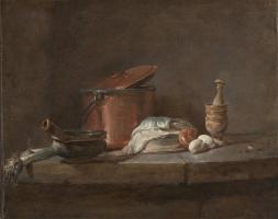 Жан Батист Симеон Шарден. Натюрморт. Кухонная утварь с луком-пореем, рыбой и яйцами