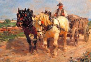 Джордж Вульф. Лошади и телега