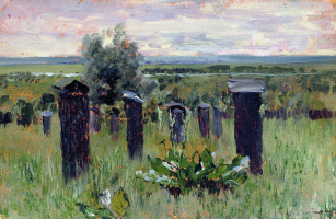 """Isaac Levitan. Landscape with beehives (Apiary). A sketch for the painting """"the Spill on the Sur"""""""