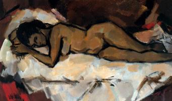 Рикардо Макаррон. Лежащая на кровати обнаженная