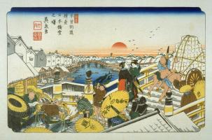 Кэйсай Эйсэн. Нихомбаси — Японский мост у начала дороги Кисокайдо в Эдо