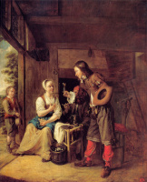Питер де Хох. Мужчина предлагает стакан вина девушке