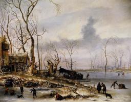 Ян ван Кессель Старший. Зимний пейзаж