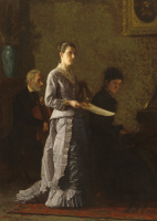 Thomas Eakins. The performance of the singer with the pathetic song