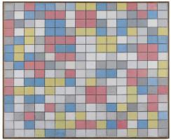 Пит Мондриан. Композиция с сеткой 9: композиция шахматной доски с светлыми цветами