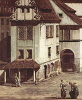 Джованни Антонио Каналь (Каналетто). Вид торговой площади в Пирне, фрагмент