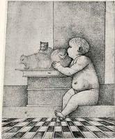 Джулио Кампаньола. Младенец с тремя кошками